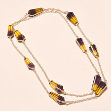 """SPARKLING FACETED AMETRINE LOOK GORGEOUS EBAY STORE SILVER JEWELRY NECKLACE 36"""""""