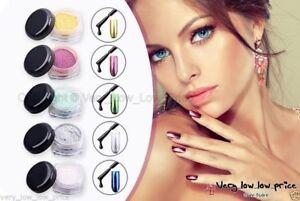 New chrome mirror effect nail powder pigment polish dust nails trend ebay - Smalto a specchio polvere ...
