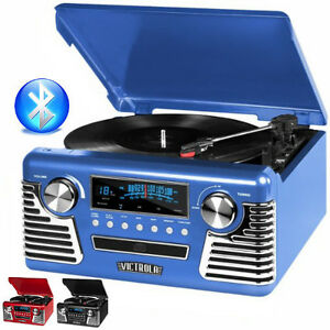 victrola 50 39 s retro record player stereo bluetooth usb encoding cd v50 200 blu ebay. Black Bedroom Furniture Sets. Home Design Ideas