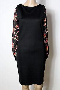 Kleid-Gr-M-36-schwarz-knielang-Langarm-Party-Kleid-mit-gebluemten-Armeln