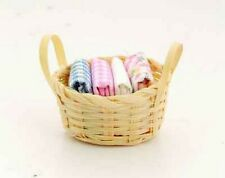 Basket Of Linen, Dolls House Miniatures, 1.12 Scale, Accessory Bedroom
