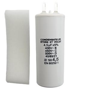 Condensateur 4.5 uF (4,5 µF) pour moteur SOMFY ou SIMU de volet roulant ou store