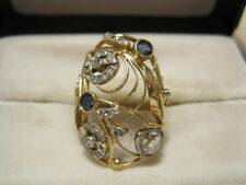 ANTIKER Damenring Ring GG 585 Goldring Rosendiamant 0,50 ct, kl.Diamanten Safire