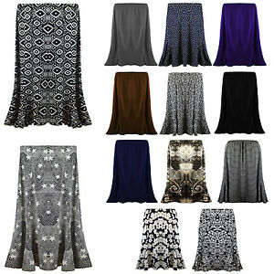 New-Ladies-Womens-Long-Gypsy-Skirt-MAXI-Plus-Elastic-Waist-Jersey-Dress-UK-12-22