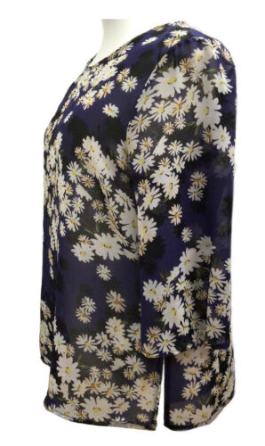 Plus Size summer Tunic Tops Sheer Ditsy Navy Floral Print Daisies UK Sizes to 36