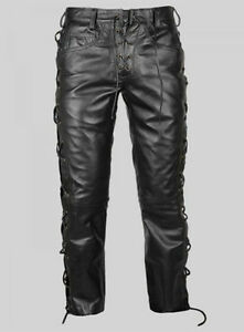purchase cheap forefront of the times durable modeling Details about Men's Real Leather Bikers Pants Side & Front Laces Up Bikers  Pants