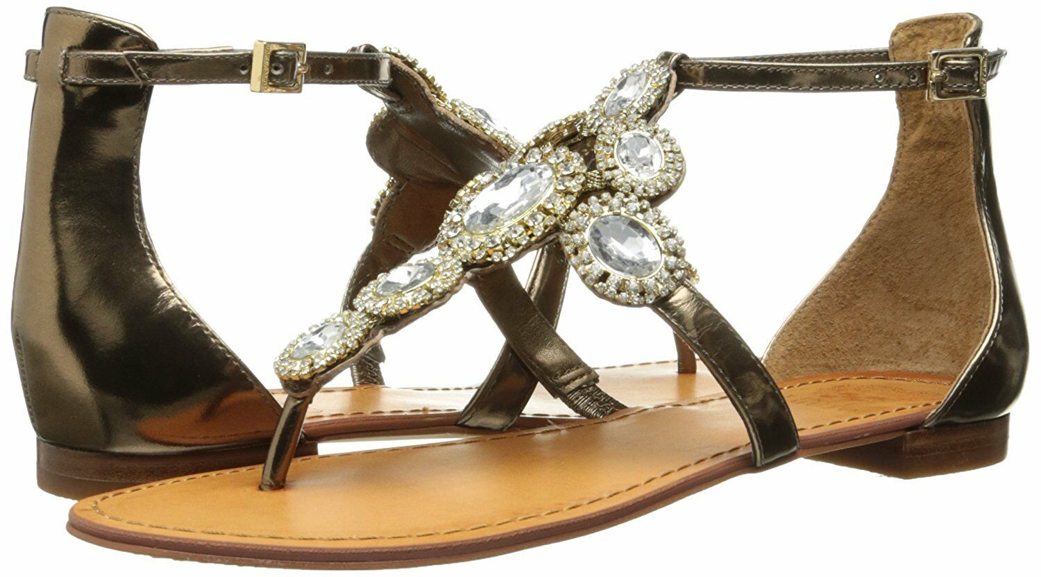 Donna Vince Camuto Manelle Jeweled Sandals, Bronze Mirror Metallic Lea Mul Sizes
