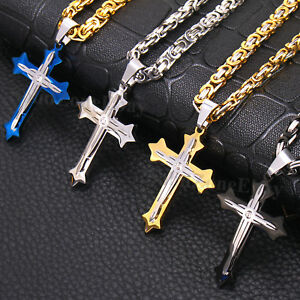 Men stainless steel cross pendant gold silver black byzantine chain image is loading men stainless steel cross pendant gold silver black aloadofball
