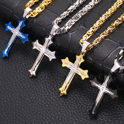 Men Stainless Steel Cross Pendant Gold Silver Black Byzantine Chain Necklace