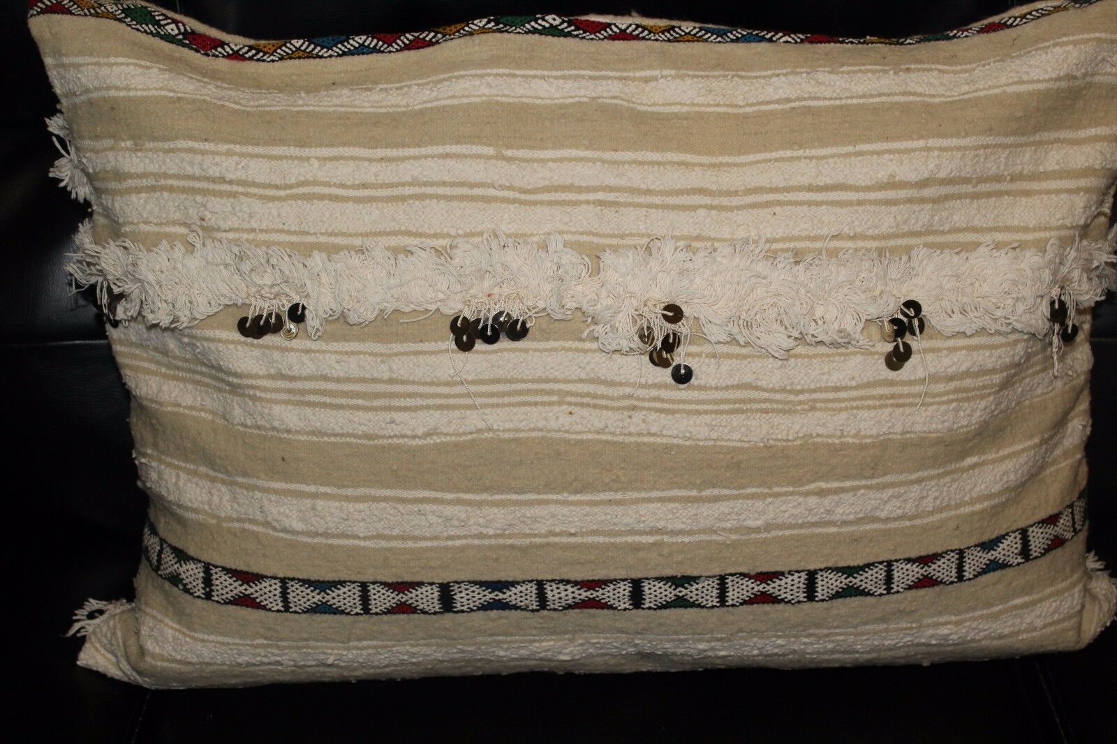 Gorgeous Mgoldccan Pillow Handmade from Vintage Berber Wedding Blanket