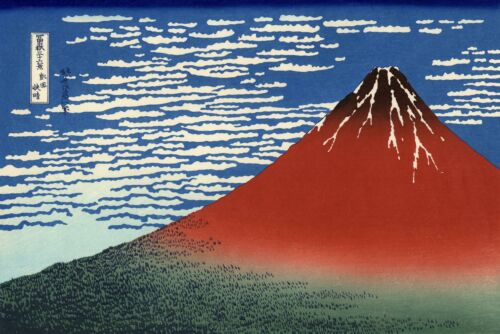 Red Mount Fuji Japanese Woodblock Print by Hokusai /& FREE Iris Poster 36 Views