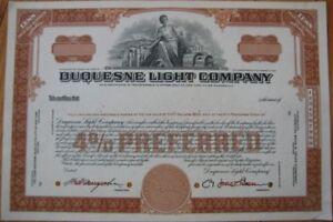 039-Duquesne-Light-amp-Power-Company-039-1950-SPECIMEN-Stock-Certificate-Brown