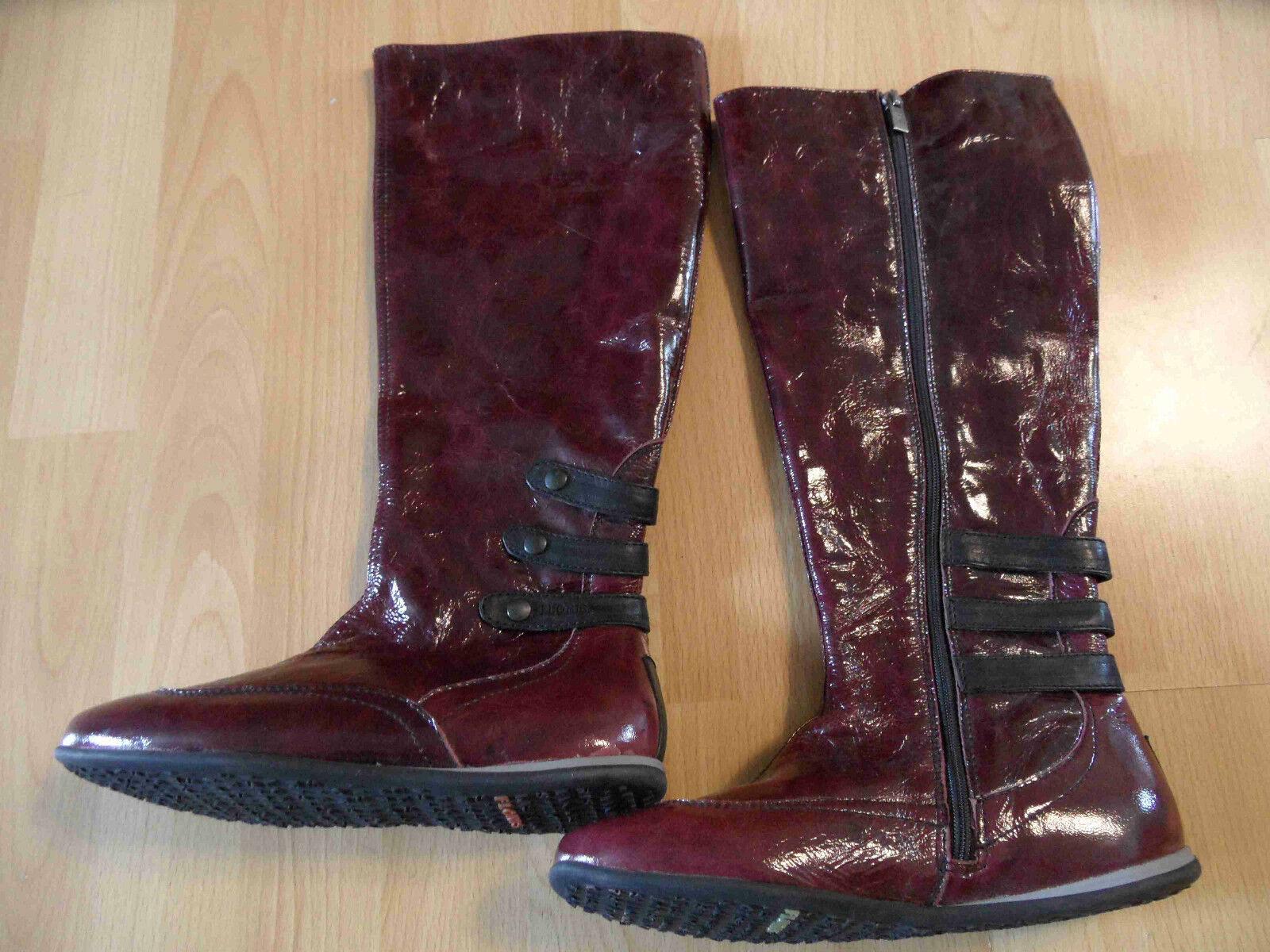 FLORIS VAN BOMMEL stylische flache Lackleder Stiefel bordeaux Gr. 37 TOP ZC616