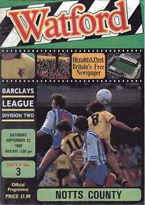 Watford v Notts County September 22 1990  Official Matchday Programme - Broadstairs, Kent, United Kingdom - Watford v Notts County September 22 1990  Official Matchday Programme - Broadstairs, Kent, United Kingdom