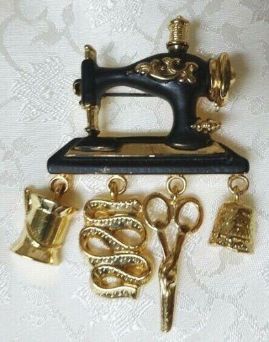 Vintage Gold Metal Sewing Machine Brooch Pin by 1928