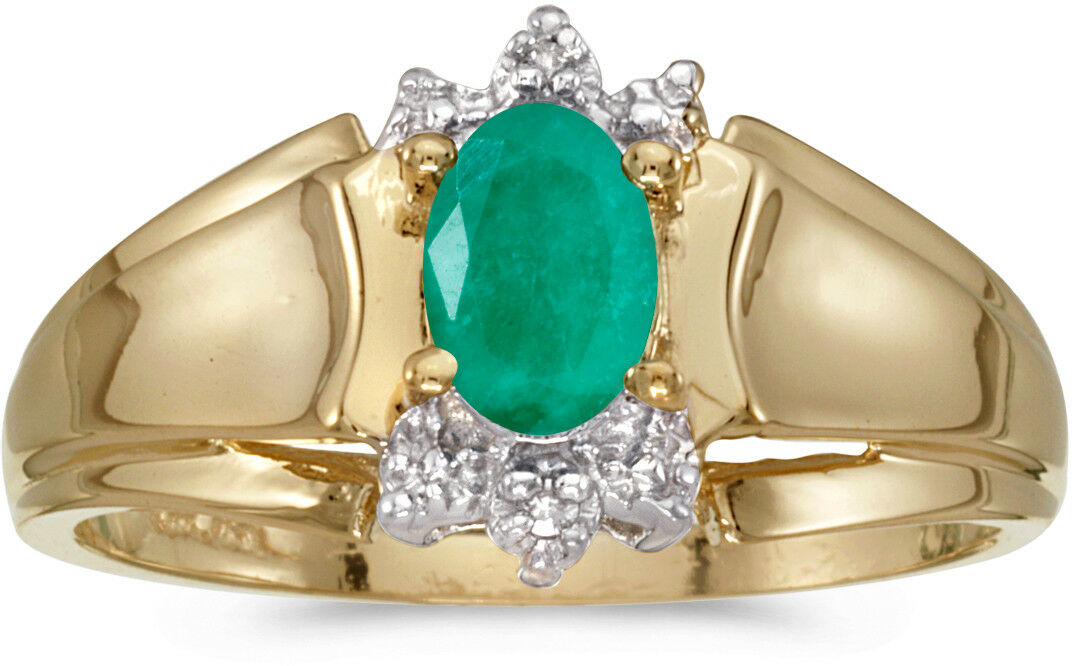 14k Yellow gold Oval Emerald And Diamond Ring (CM-RM869X-05)