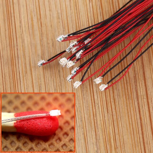 20pcs T0603R Pre-soldered micro litz wired leads RED SMD Led 0603