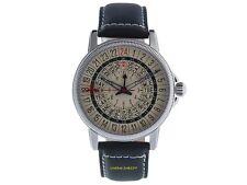 NO-WATCH 24 Stunden Uhr CL1-1111 Quarz GMT 750 Stück Lederband 5atm Saphirglas