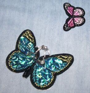 Sequins Embroidered Fabric Applique, Sew, Iron On Clothes Patch - 2 Butterflies