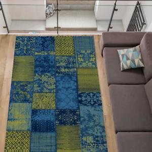 Teppich Wohnzimmer Modern Stylisch Kariert Patchwork Blau Grun