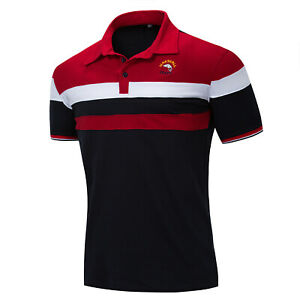 New-Mens-Short-Sleeve-Striped-Cotton-T-Shirt-Shark-Polo-Shirt-with-Embroidered