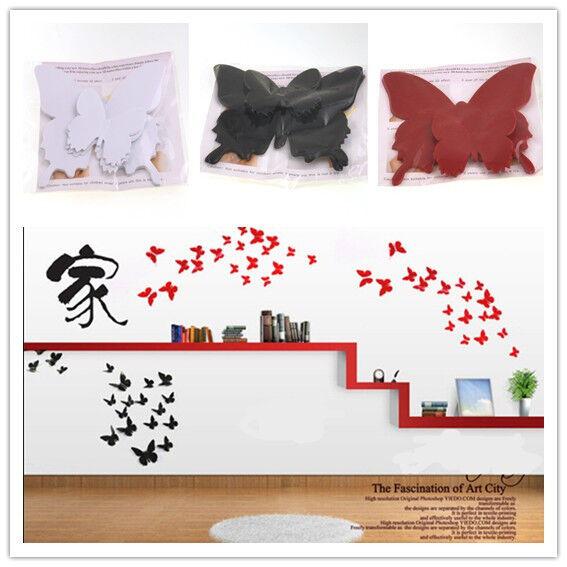 XJ 12pcs 3D Butterfly Wall Stickers Butterflies Docors Art Paper DIY Decorations