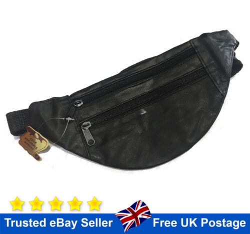 Travel Leather Bum Bag Waist Belt Money Belt Fanny Pouch Holiday Wallet Black