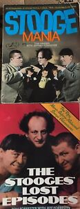 Three-Stooges-2-Books-Mania-Lost-Episode-Pictures-1980-039-s-Vintage-Lot-Comedy