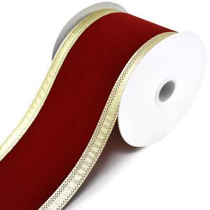 Velvet Dynasty Wired Edge Christmas Ribbon 4-Inch 10-Yard Scarlet