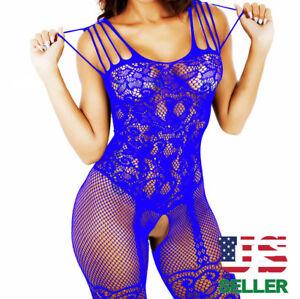Women-Lingerie-Chemise-Babydoll-Fishnet-Body-Stocking-Sleepwear-New-Bodystocking