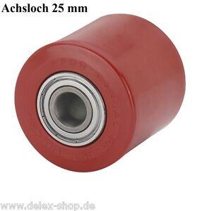 Hubwagenrad-82-mm-Polyurethan-Breite-70-mm-Achsloch-25-mm-Hubwagenrolle-Rolle