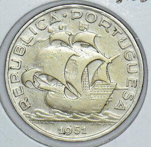 Portugal  5 ESCUDOS SILVER 1951 UNC