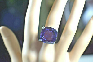 New Princess Cushion Cut 6ct Alexandrite Amethyst Solitaire Sterling Silver Ring