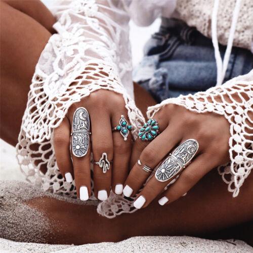 1//9X Silver Punk Vintage Rings Womens Retro Geometry Finger Rings Boho  ES