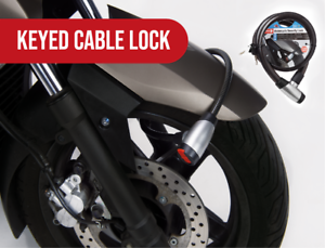 """MOTORCYCLE BICYCLE ATV CABLE SAFETY SECURITY LOCK 44/"""" LENGTH HEAVY DUTY KEYED"""