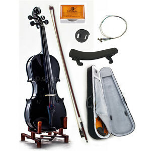 Black 4/4 Size Solid Maple Spruce Student Violin w Extras Beautiful Purfling