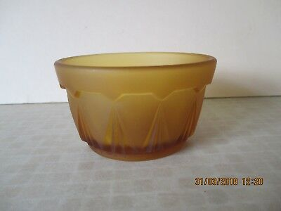Bagley/sowerby/davidson Friendly Vintage 1930s Yellow Amber Bagley Art Deco Frosted Glass Dressing Table Bowl To Win A High Admiration