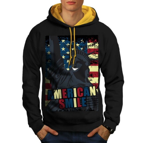 Black Men New Hoodie Hood Contrast Flag gold Usa Liberty American wqgT0pxBc