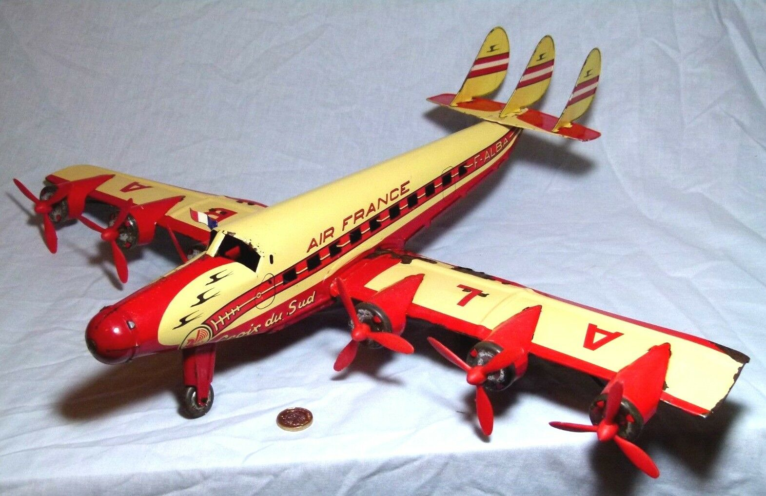 VERY LARGE TIN PLATE TOY FRICTION DRIVE PASSENGER PLANE AIRCRAFT JOUSTRA 597 MM