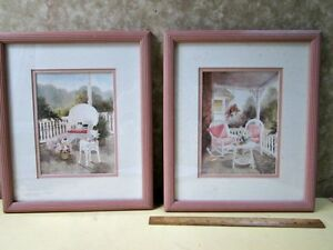 image is loading vintage pair painted wood frames summertime prints m