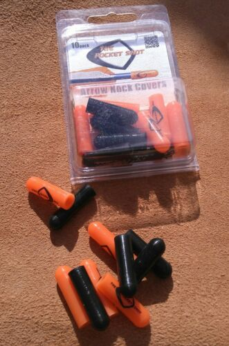 10 Genuine USA Pocket Shot ® Black//Orange Arrow Nock Caps catapult slingshot