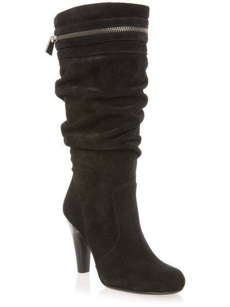 b52064a0253f GUESS Peter High HEELS Mid Slouchy BOOTS PUMPS Shoes Black 10 Suede for  sale online
