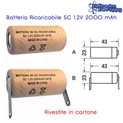 1 x BATTERIA RICARICABILE NI-CD SC 1.2V 2000mA - tipo B ...