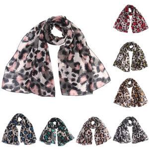 07fcec70ed6c0 Women Lady Cotton Leopard Print Scarf Wrap Shawls Soft Stole Long ...