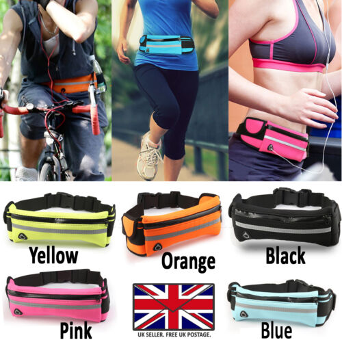 2 COMPARTMENT & ELASTIC BOTTLE HOLDER TRAVEL FITNESS RUNNING POUCH WAIST PACK