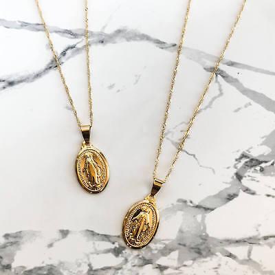 "Men Women Catholic White Gold Religious Virgin Mary Pendant Necklace Jewelry 24/"""