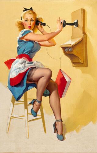 photo art Encadrée Imprimer-G Elvgren Pin Up Girl travaillant au Central téléphonique
