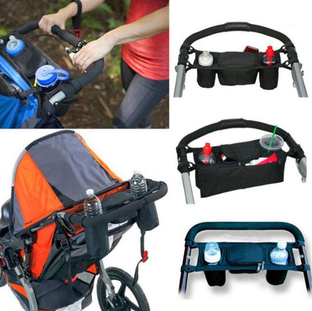 Universal Baby Pram Buggy Organiser Pushchair Stroller Storage Cup Holder Bag DD