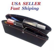 2x PU Leather Catcher Box Caddy Car Seat Gap Filler Pocket Storage Organizer