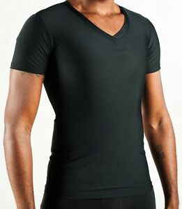 7ce0dfd6ba4 Details about Compression V-neck T-Shirt Gynecomastia Undershirt LARGE 3  Pack Value Black